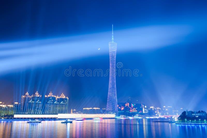 горизонт места ночи guanghzou города стоковая фотография rf