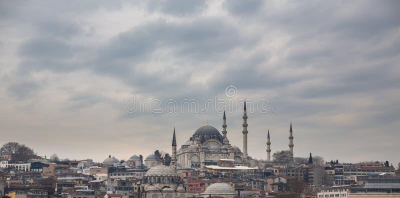 Горизонт мечети и Стамбула Suleymaniye, Турция стоковые фотографии rf