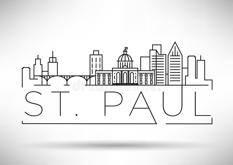Горизонт минимального города St Paul линейный с типографским дизайном иллюстрация штока