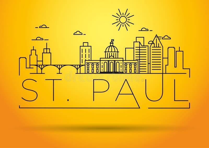 Горизонт минимального города St Paul линейный с типографским дизайном иллюстрация вектора