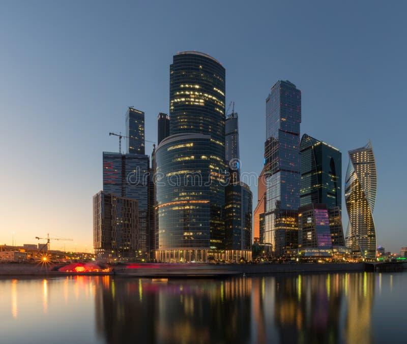 Горизонт Москв-города Город Москва, Россия стоковые фотографии rf