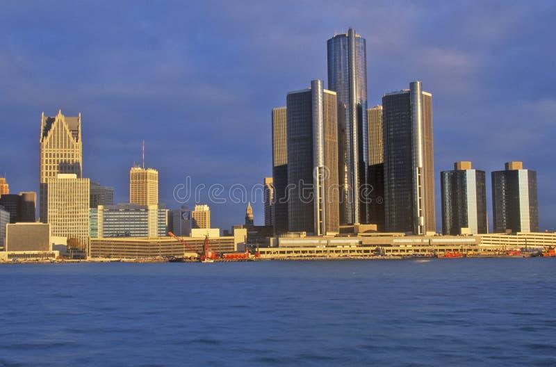 Горизонт на восходе солнца от Виндзора, Канада Детройта стоковая фотография