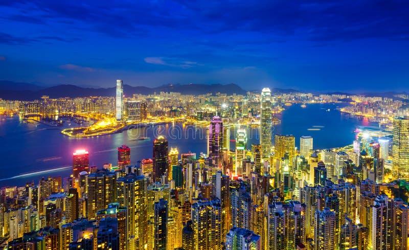 Горизонт на ноче, Китай Гонконга стоковое изображение rf