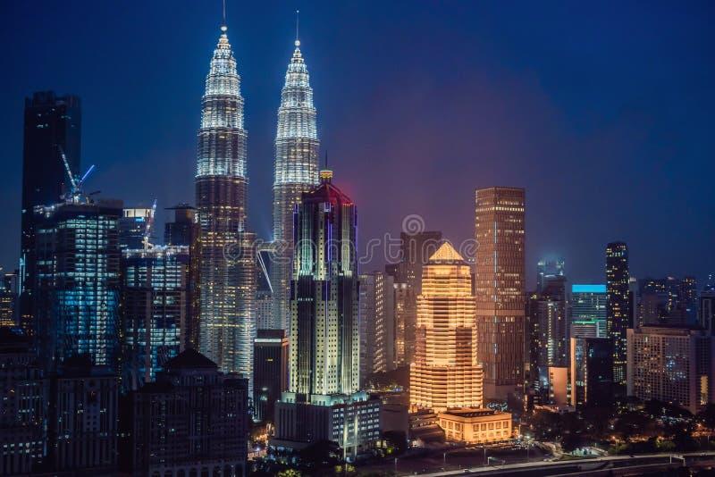 Горизонт на ноче, Малайзия Куалаа-Лумпур, Куала-Лумпур столица Малайзии стоковые фотографии rf