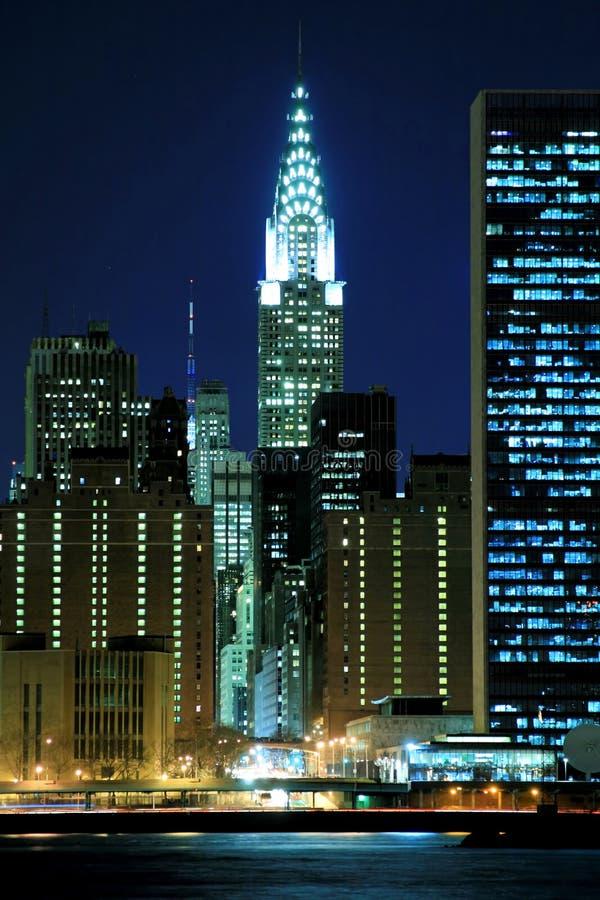 горизонт ночей manhattan стоковое фото rf