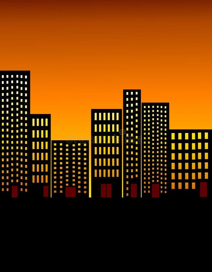 горизонт ночи города предпосылки иллюстрация штока