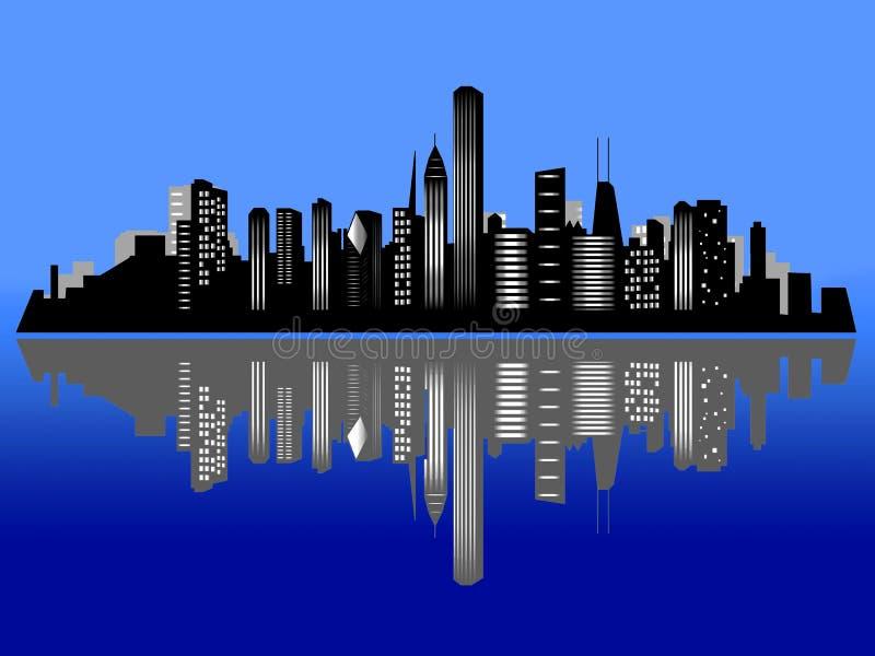 горизонт ночи города chicago иллюстрация вектора