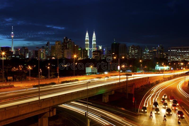 горизонт ночи Куала Лумпур стоковое изображение rf