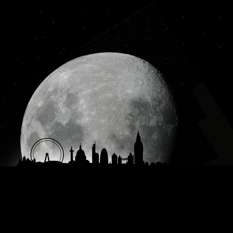 горизонт ночи луны london бесплатная иллюстрация