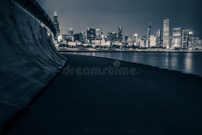 горизонт ночи chicago стоковые фотографии rf