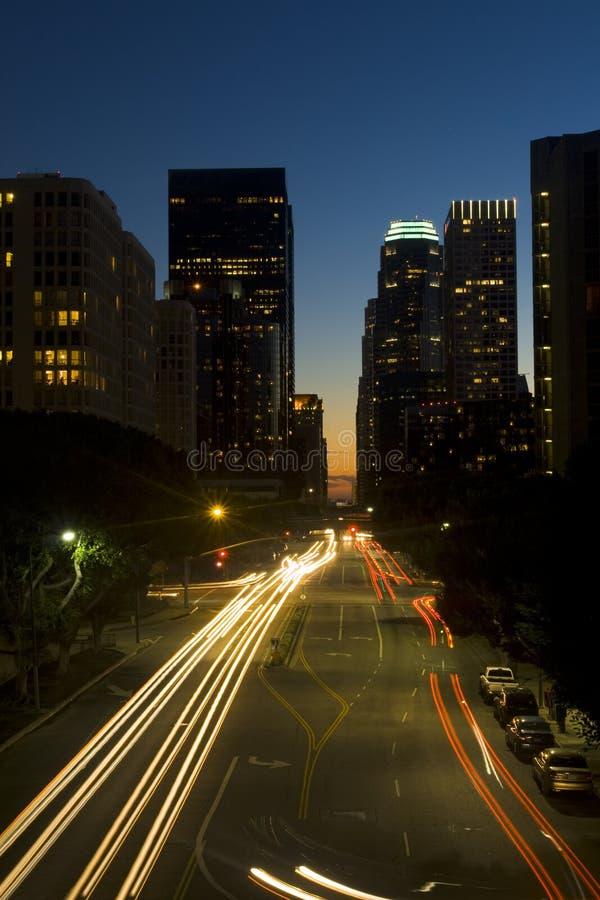 горизонт ночи los города angeles стоковое изображение rf