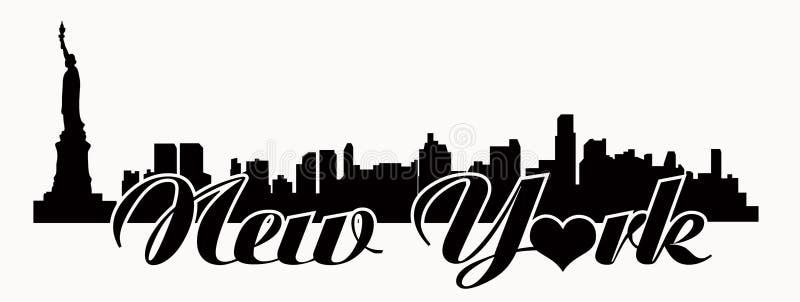 Горизонт Нью-Йорка - влюбленность n Y иллюстрация штока