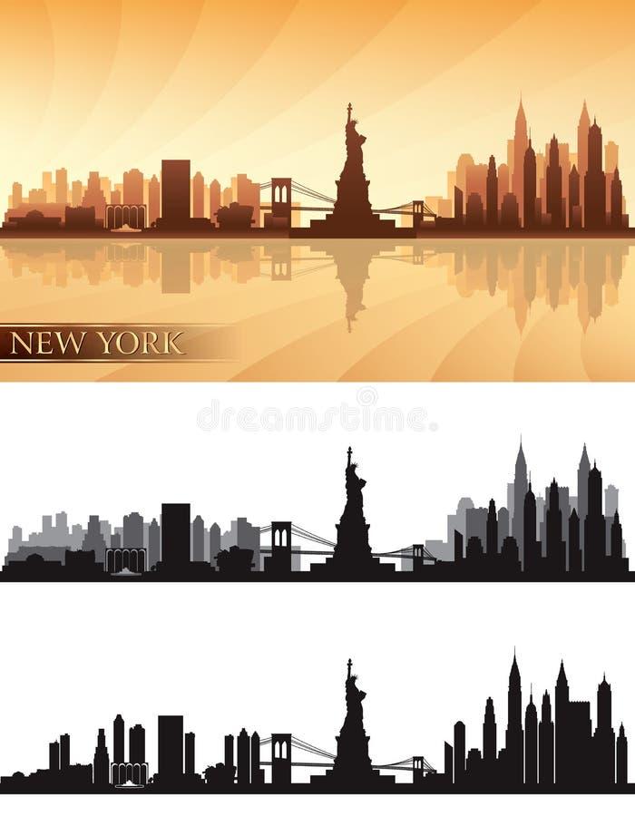 Горизонт Нью-Йорка детализировал установленные силуэты иллюстрация вектора