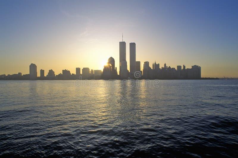Горизонт Нью-Йорка от Нью-Джерси стоковое фото rf