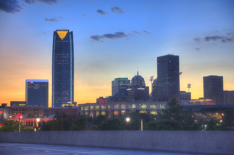 Горизонт Оклахомаа-Сити на ноче стоковые фото