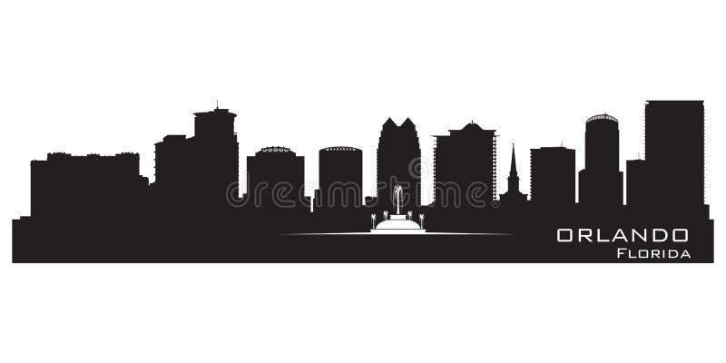 Горизонт Орландо, Флориды Детальный силуэт города иллюстрация вектора
