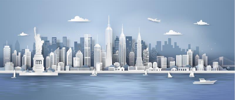 Горизонт панорамы Манхэттена, Нью-Йорка с городскими небоскребами иллюстрация вектора