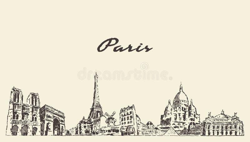 Горизонт Парижа, эскиз города вектора Франции вычерченный бесплатная иллюстрация