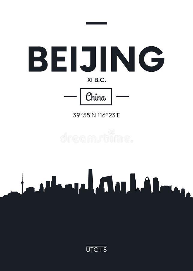 Горизонт Пекин города плаката, плоская иллюстрация вектора стиля иллюстрация штока