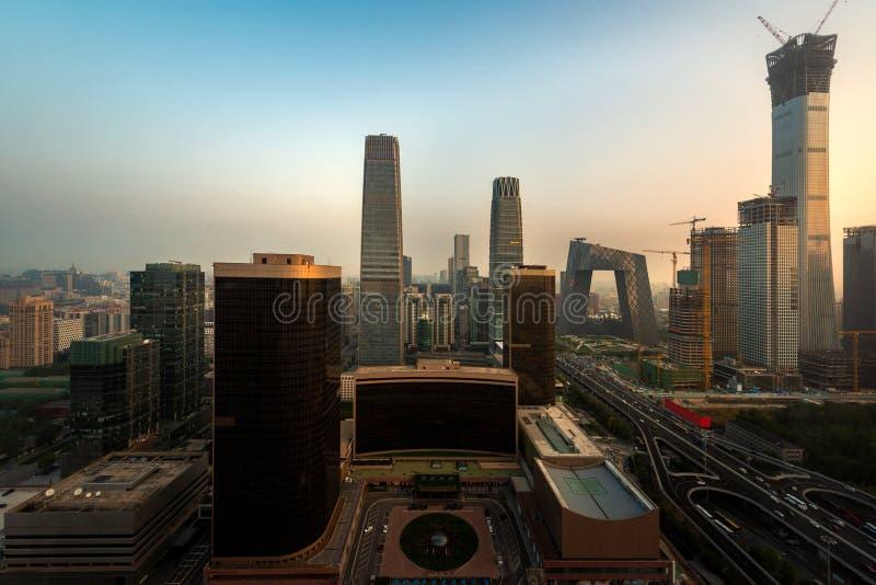 Горизонт Пекин на деловом районе в Пекин, Китае Chaoyang центральном стоковое фото rf