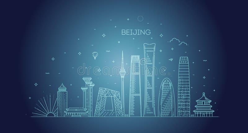 Горизонт Пекин с панорамой в предпосылке неба бесплатная иллюстрация
