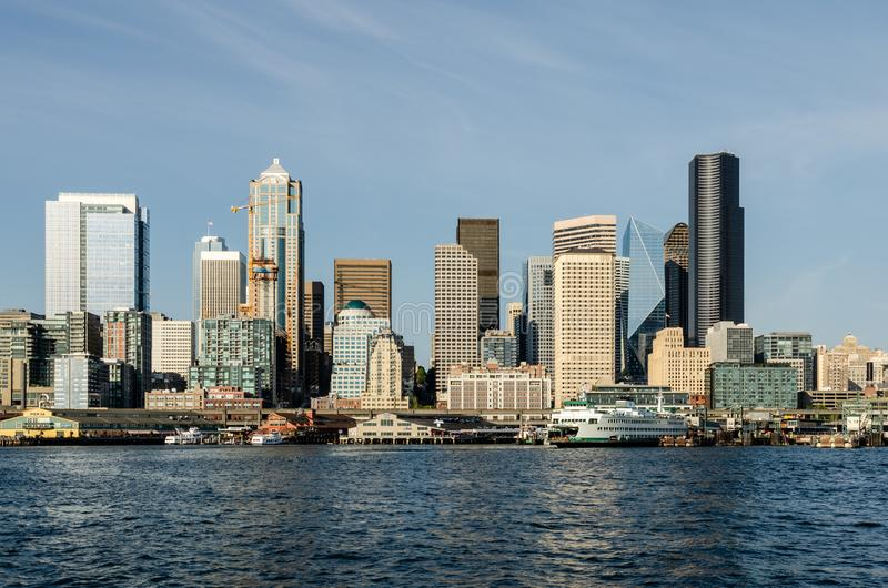 Горизонт портового района Сиэтл стоковые изображения