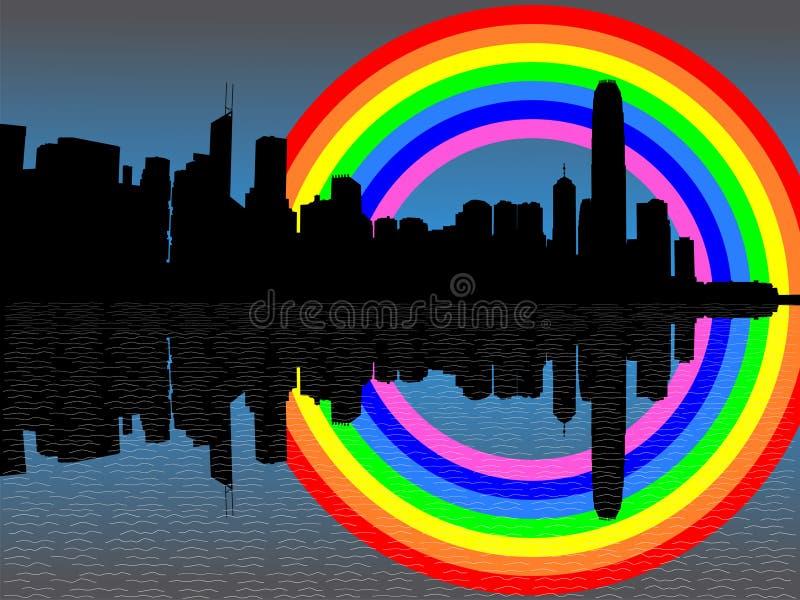 горизонт радуги Hong Kong иллюстрация вектора
