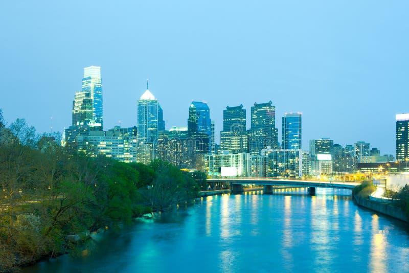 Горизонт реки и города Schuylkill Филадельфии стоковое фото
