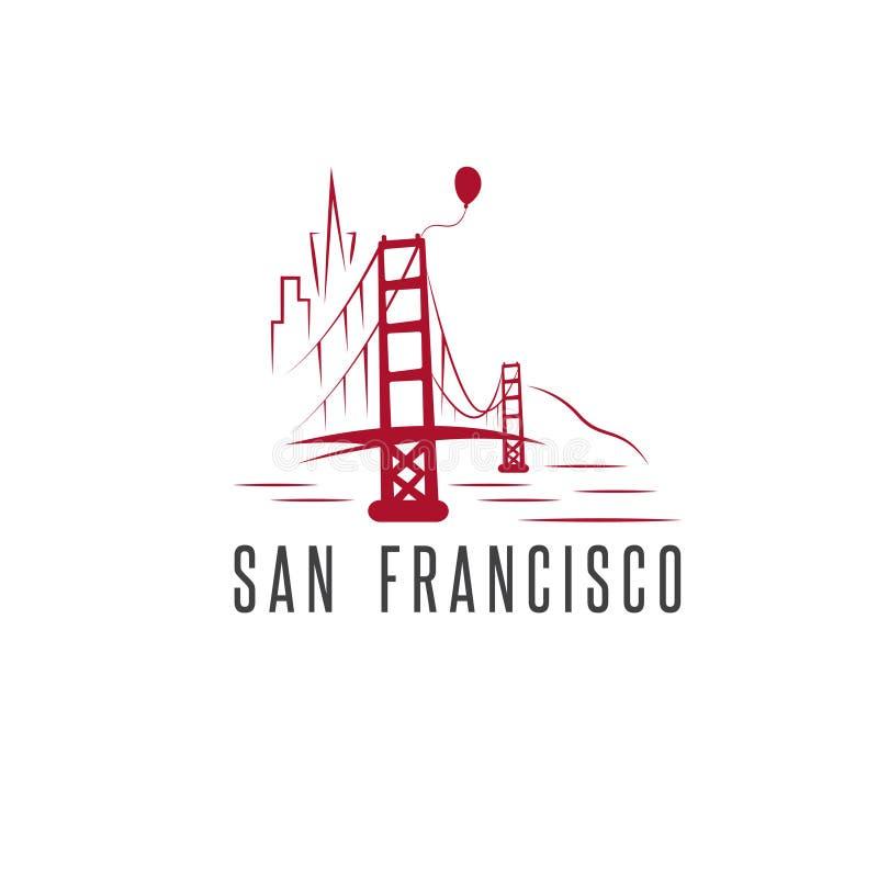 Горизонт Сан-Франциско, воздушный шар и мост золотого строба бесплатная иллюстрация