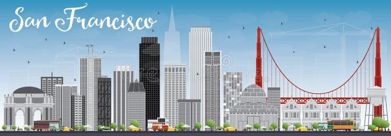 Горизонт Сан-Франциско с серыми зданиями и голубым небом бесплатная иллюстрация