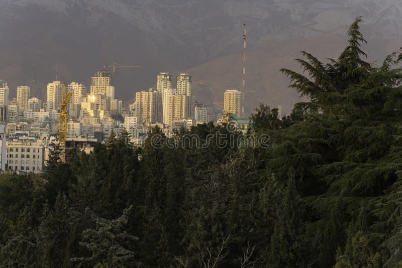 Горизонт северной области Тегерана за деревьями стоковые фотографии rf