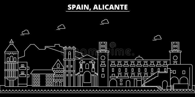 Горизонт силуэта Аликанте Город вектора Испании - Аликанте, испанская линейная архитектура, здания Перемещение Аликанте иллюстрация штока