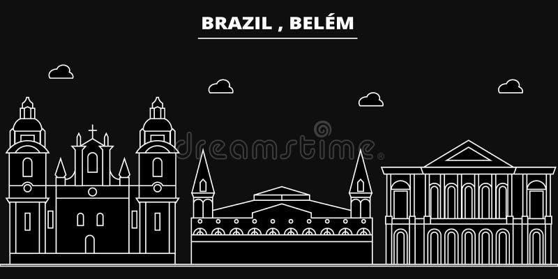 Горизонт силуэта Belem Город вектора Бразилии - Belem, бразильская линейная архитектура, здания Перемещение Belem иллюстрация вектора
