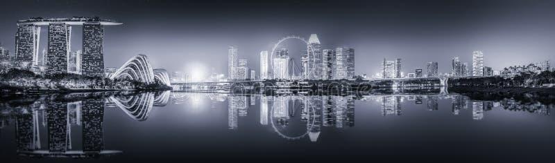Горизонт Сингапура и залив Марины, черно-белый стоковые фотографии rf