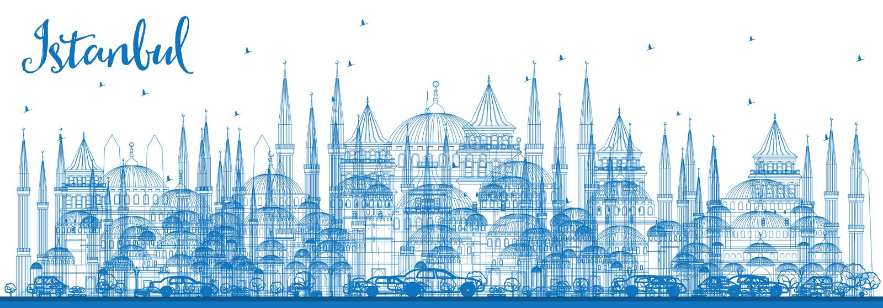 Горизонт Стамбула плана с голубыми ориентир ориентирами бесплатная иллюстрация