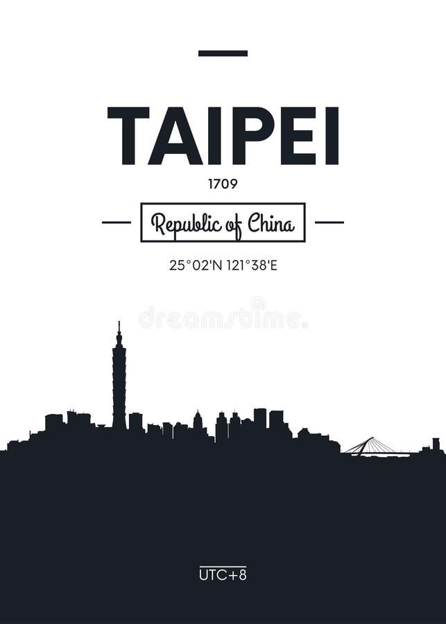 Горизонт Тайбэй города плаката, плоская иллюстрация вектора стиля иллюстрация штока