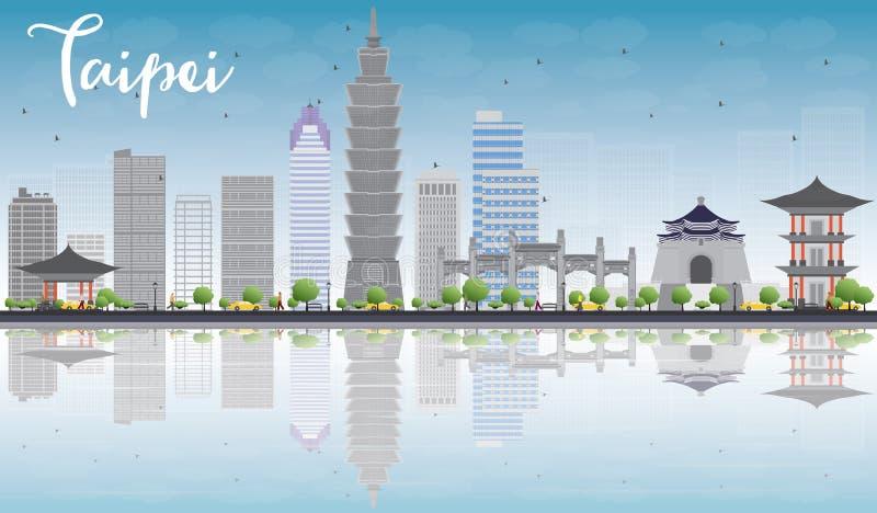 Горизонт Тайбэя с серыми ориентир ориентирами, голубым небом и отражением бесплатная иллюстрация