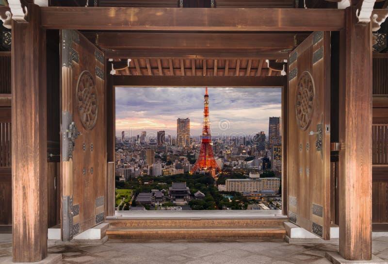 Горизонт токио, городской пейзаж города токио, Японии - токио wor стоковое фото rf
