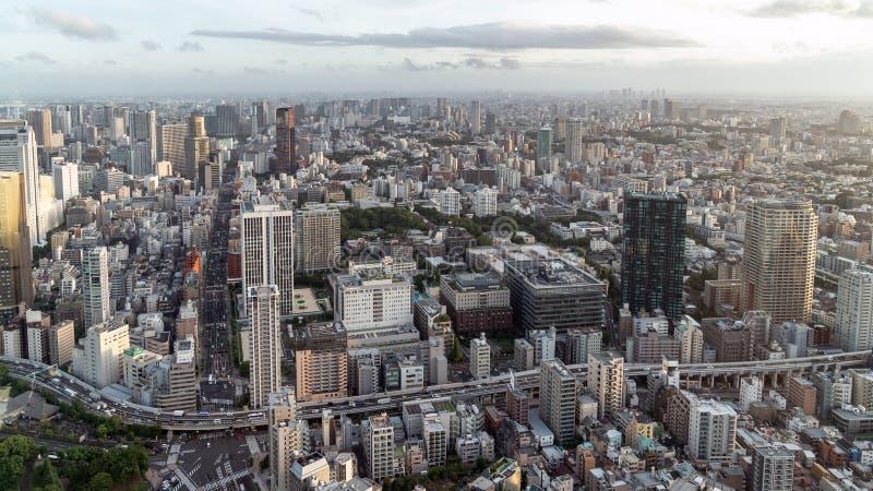 Горизонт Токио как увидено от башни Токио, Японии стоковые изображения