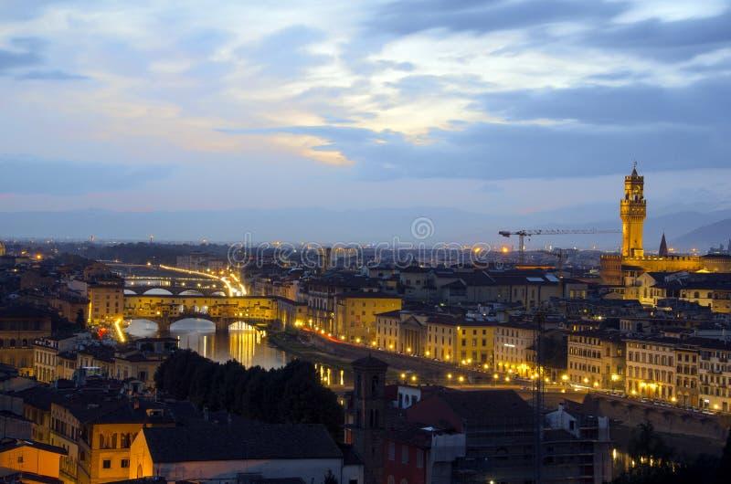 Горизонт Флоренса на ноче стоковое фото