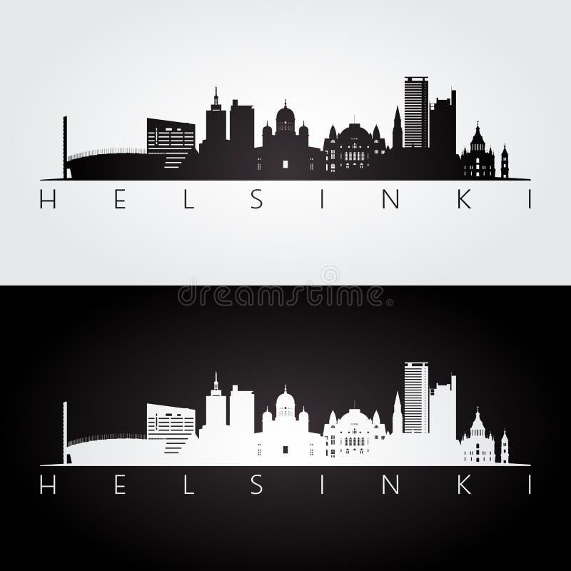 Горизонт Хельсинки и силуэт ориентир ориентиров иллюстрация штока