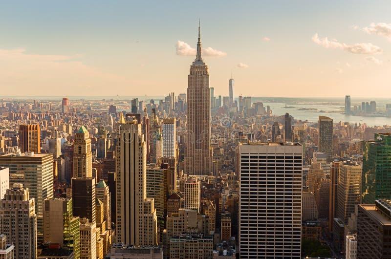 горизонт центра города Манхэттена стоковые фото