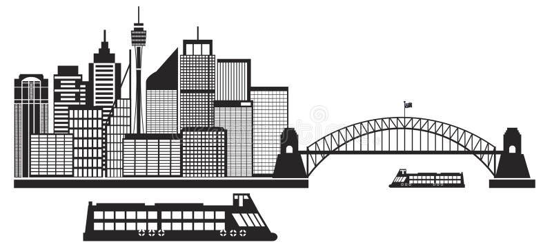Горизонт черно-белое Illustrat Сиднея Австралии иллюстрация штока