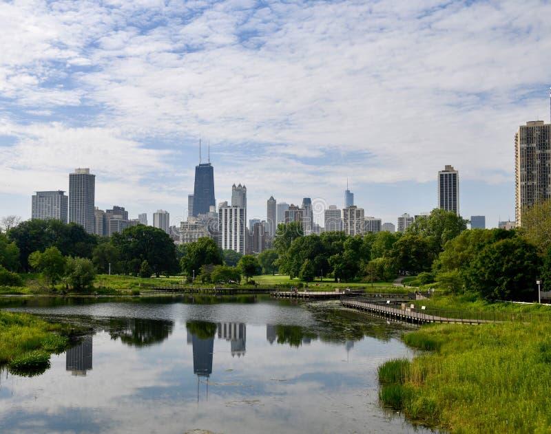 Горизонт Чикаго от моста #1 Лестер Fisher стоковое фото
