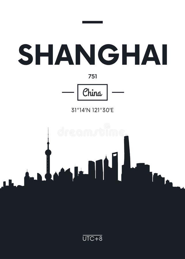 Горизонт Шанхай города плаката, плоская иллюстрация вектора стиля иллюстрация вектора