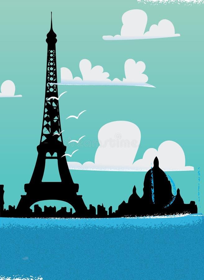 Горизонт Эйфелевой башни Парижа стоковые фото