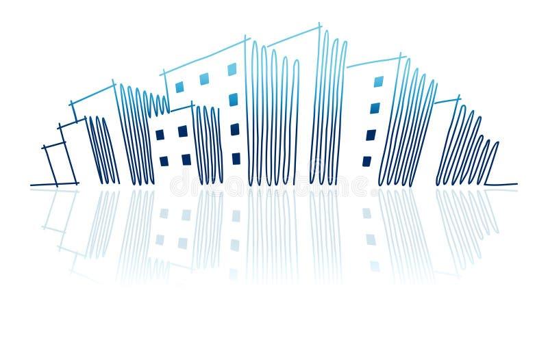 горизонт эскиза города бесплатная иллюстрация