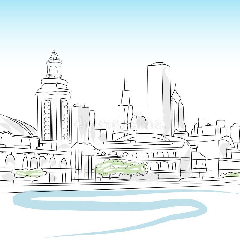 горизонт chicago городской иллюстрация вектора
