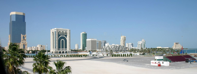 горизонт doha города стоковая фотография