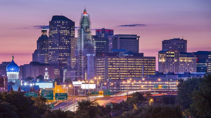 Горизонт Hartford Коннектикута стоковая фотография rf